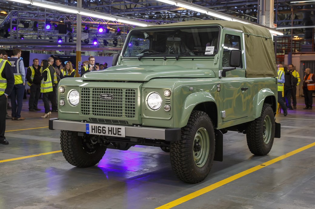 last land rover defender front view