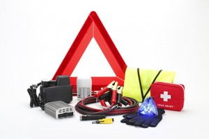 Emergency kit for car  isolated on white background