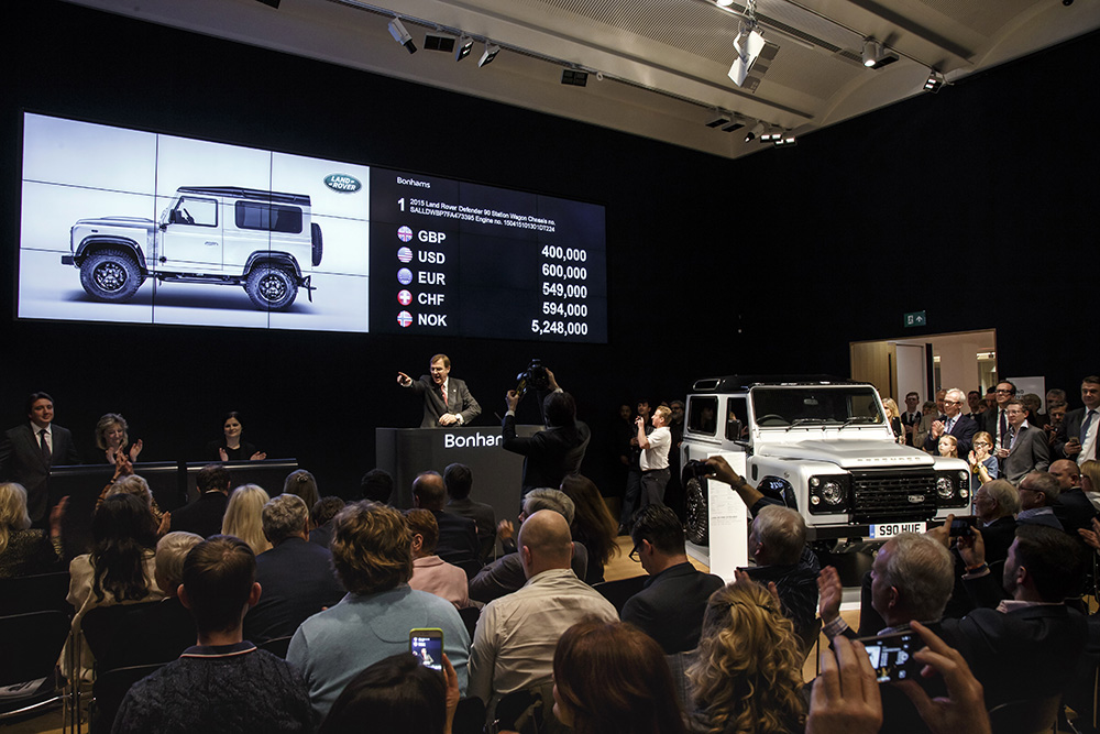 2 millionth land rover defender on auction at bonhams