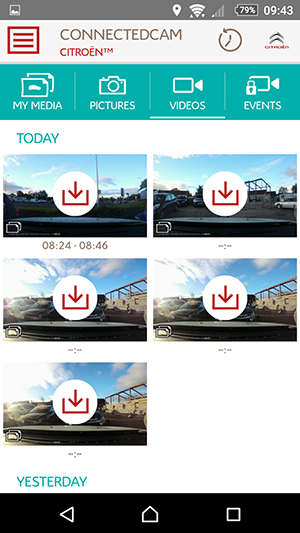 citroen connectedcam video selection