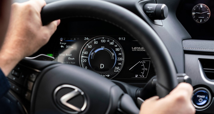 All new Lexus UX 300e electric leasing dashboard